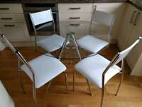 John Lewis round glass and chrome dining table with 4 chairs