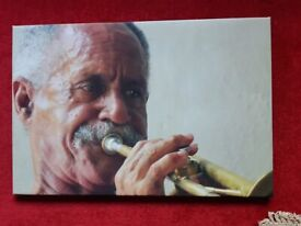 Characterful Cuban Trumpet Player on Canvas