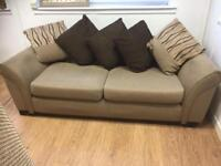 3 x 2 seater beige material suite DFS