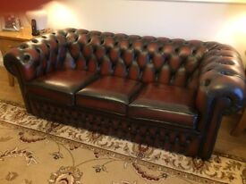 leather oxblood 3 seater settee.