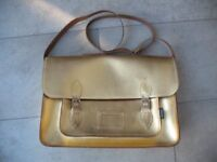 Zatchels Gold Metallic Satchel Bag Large School / University Bag Leather Clean Used Good Condition