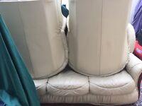 Sofa Set beige cream faux leather used