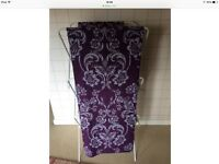 FLG NEXT NEW THERMAL LINED PENCIL PLEAT PURPLE LILAC DAMASK DESIGN CURTAINS.