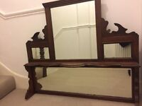 Large over mantle fireplace vintage pub mirror