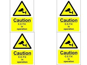 Camera-CCTV-Segnali-Di-Avviso-A5-4-Confezione-Serigrafato-Segni-15-x-10cm