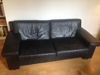 Black Leather (leatherette) vintage Sofa