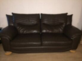 3 Piece Leather Sofa & 2 Chairs