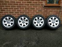"BMW E46 16"" alloy wheels & tyres 205/55/16R"