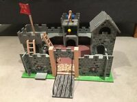 Traditional wooden toy castle