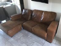 Leather sofa 3 seater in brown