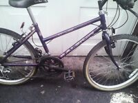 RALEIGH ENIGMA GIRLS MOUNTAIN BIKE,14 INCH FRAME,24 INCH WHEELS ,18 GEARS,GOOD CONDITION.