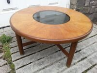 RETRO VINTAGE 1970's G PLAN COFFEE TABLE SMOKED GLASS CENTRE