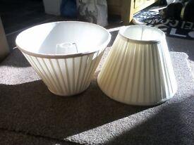 2 cream bedside lamp shades