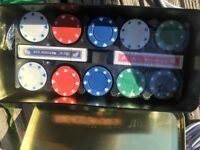 Poker set with chips, mat and 2 sets of cards - never used