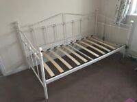 Single White Metal Day Bed frame