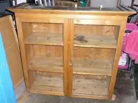 Pine cupboard with 2 glass doors - antique original pine