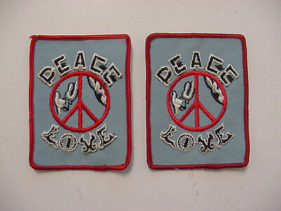 "LOT OF 2 VINTAGE PEACE SIGN LOVE PATCH EMBROIDERED 70'S -IRON ON PATCH- 4""X3"""