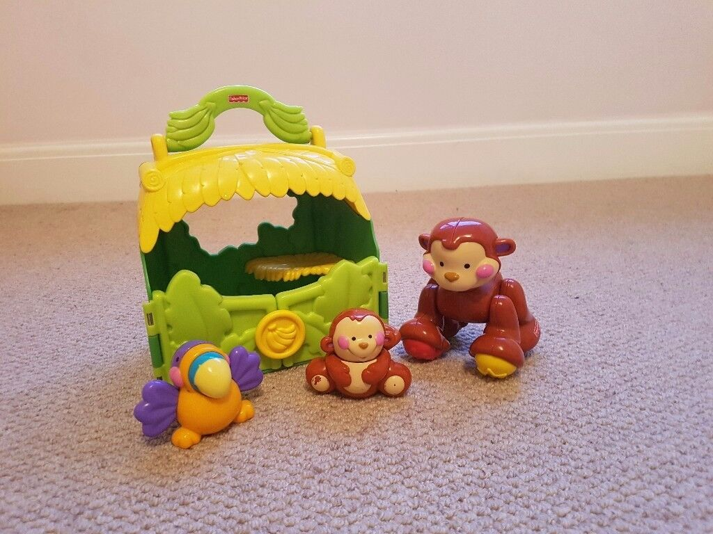 Fisher price Amazing Animals monkey and baby take along tote toy
