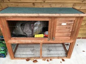 Guinea Pig Hutch with Outside Cover and a run