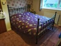 Metal frame double bed (black) with mattress