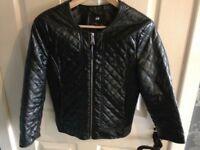Black faux leather biker style jacket size 10