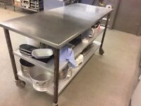 Solid Stainless Steel Commercial Kitchen Table/Island on Wheels