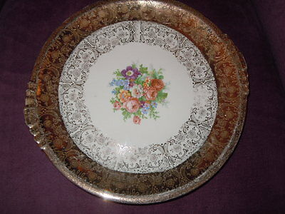 Paden City Pottery Royal China USA Cake Plate Warranted 22 K Gold Filigre11""