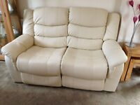 2 seater recliner sofa in cream leather