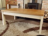 SHABBY CHIC COFFEE TABLE PAINTED IN ANNIE SLOAN OLD OCHRE (CREAM)