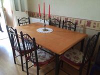 Wooden/metal dining table and 6 chairs