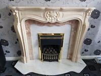 Marble Hearth & Gas fire