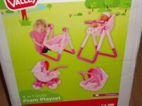 Chad Valley 4 in 1 Dolls Playset For Small Dolls - High chair,swing,rocker/car seat,pram. New in box