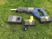 Ryobi 18v Recip saw 2 x batteries and charger