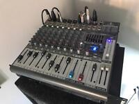 Behringer mixer and two NJD speaker cabs with celestian speakers