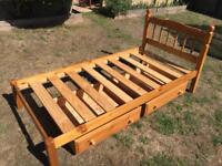 Single bed with under bed drawers
