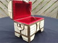 Vintage Bone and Brass Jewellery Trinket Box Chest