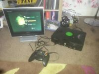 for sale Original x Box Console + tv with freeview £20
