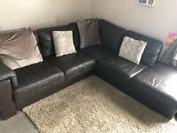 150ono dark brown leather corner sofa