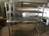 CATERING EQUIPMENT - TABLE WITH SHELF 150X60CM- Used