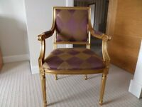 Striking occasional chair with Aubergine & gold fabric and gold coloured paint