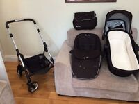 Silver Cross Wayfarer Pushchair with Chassis, Seat and Carrycot, Chrome