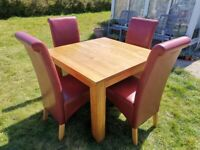 Quality Solid Oak Dining Table and 4 Chairs