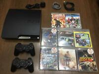PS3 Slim 160GB, 8X Games, 2X controllers, Excellent Condition