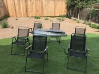 BRAND NEW garden table + 6 chairs + parasol