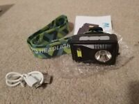 Brand new Sensing Head Torch Rechargeable with High & Low Beams, 120 Lumen Headlamp Contains