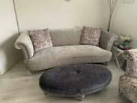 Parker Knoll sofa, cuddle chair footstool