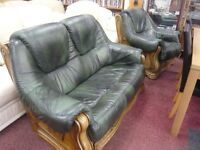 green antique leather pod style 2 seater sofa with matching armchair,