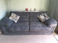 Grey & suede large 3 seater sofa