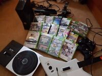 Xbox 360 with wireless rechargeable controllers, Kinect, Dj Hero and Guitar Hero