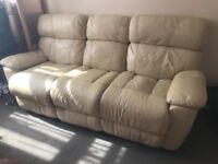 3 seater real leather sofa and chair